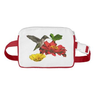 Hummingbird with Zinnia Flowers