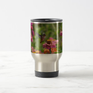 Hummingbird with Zinnias 15 Oz Stainless Steel Travel Mug