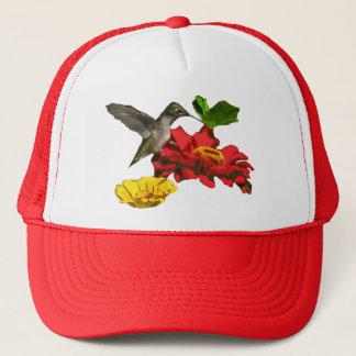 Hummingbird with Zinnias Trucker Hat