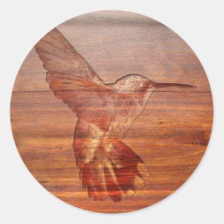 Hummingbird wood carving classic round sticker