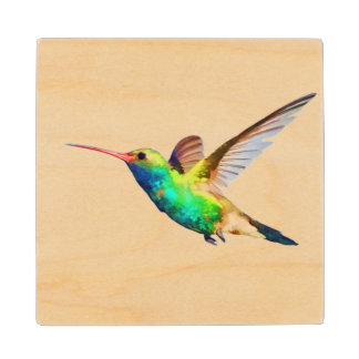 Hummingbird Wood Coaster