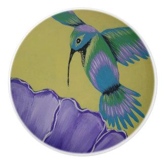 Hummingbird Yellow Ceramic Knob