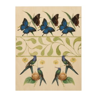 Hummingbirds and Butterflies Natural Wood Wall Art
