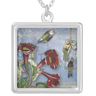 Hummingbirds and Flower Collage Necklace