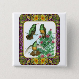 Hummingbirds and Flowers #1 Pinback Button