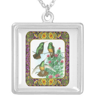 Hummingbirds and Flowers #1 Silver Plated Necklace