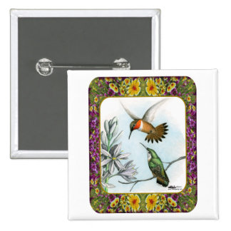 Hummingbirds and Flowers #2 Pin