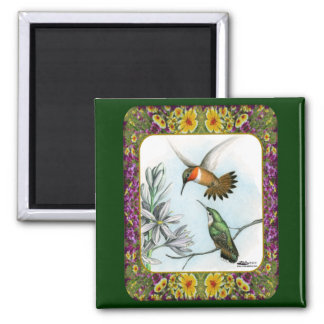 Hummingbirds and Flowers #2 Magnet