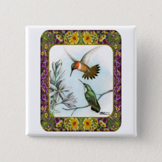 Hummingbirds and Flowers #2 Pinback Button