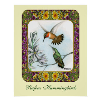 Hummingbirds and Flowers #2 Poster