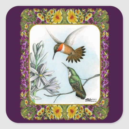 Hummingbirds and Flowers #2 Square Sticker