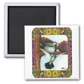 Hummingbirds and Flowers #3 Magnet