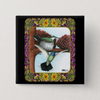 Hummingbirds and Flowers #3 Pinback Button