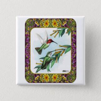 Hummingbirds and Flowers #4 Pinback Button