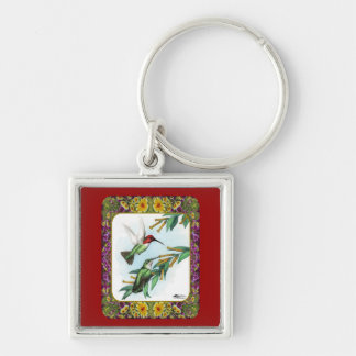 Hummingbirds and Flowers #4 Silver-Colored Square Keychain