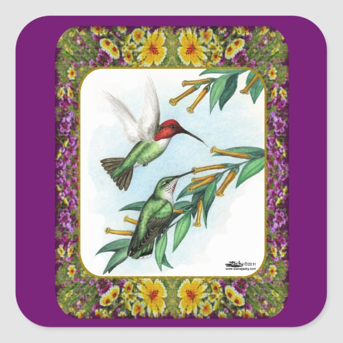 Hummingbirds and Flowers #4 Square Sticker