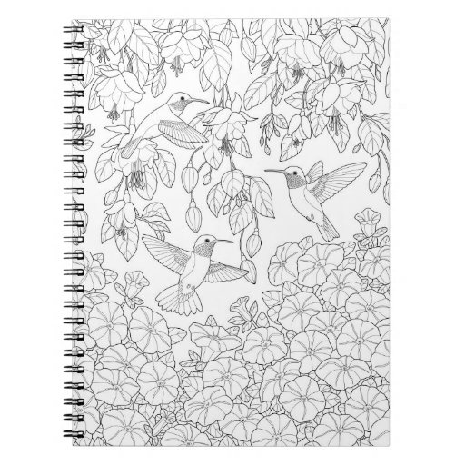 hummingbirds and flowers adult coloring page notebook zazzle