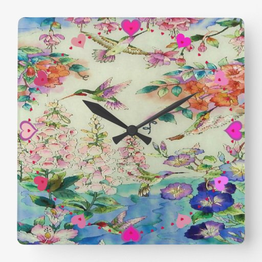Hummingbirds and Flowers Art Wall Clock - Awesome