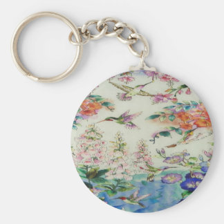 HUMMINGBIRDS and FLOWERS Keychain