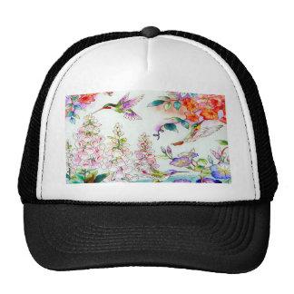 Hummingbirds and Flowers Landscape Trucker Hat