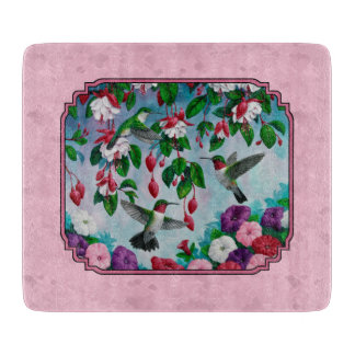 Hummingbirds and Flowers Pink Cutting Board