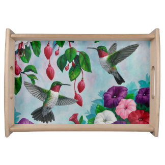 Hummingbirds and Flowers Serving Platters