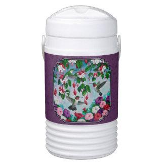 Hummingbirds and Flowers Purple Beverage Cooler