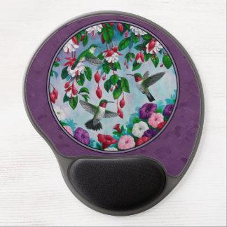 Hummingbirds and Flowers Purple Gel Mouse Pad
