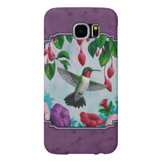 Hummingbirds and Flowers Purple Samsung Galaxy S6 Cases