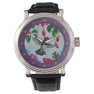 Hummingbirds and Flowers Purple Wristwatch