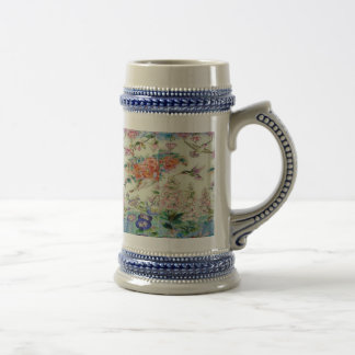 Hummingbirds and flowers stained glass WOW Beer Stein