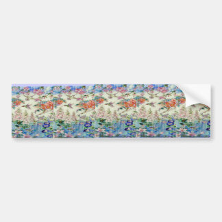 Hummingbirds and flowers stained glass WOW Bumper Sticker