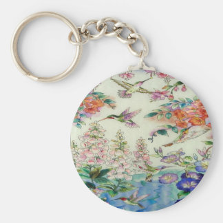 Hummingbirds and flowers stained glass WOW Basic Round Button Keychain