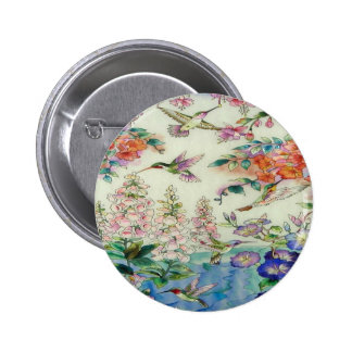 Hummingbirds and flowers stained glass WOW Pinback Button