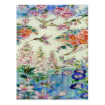 Hummingbirds and flowers stained glass WOW Postcard