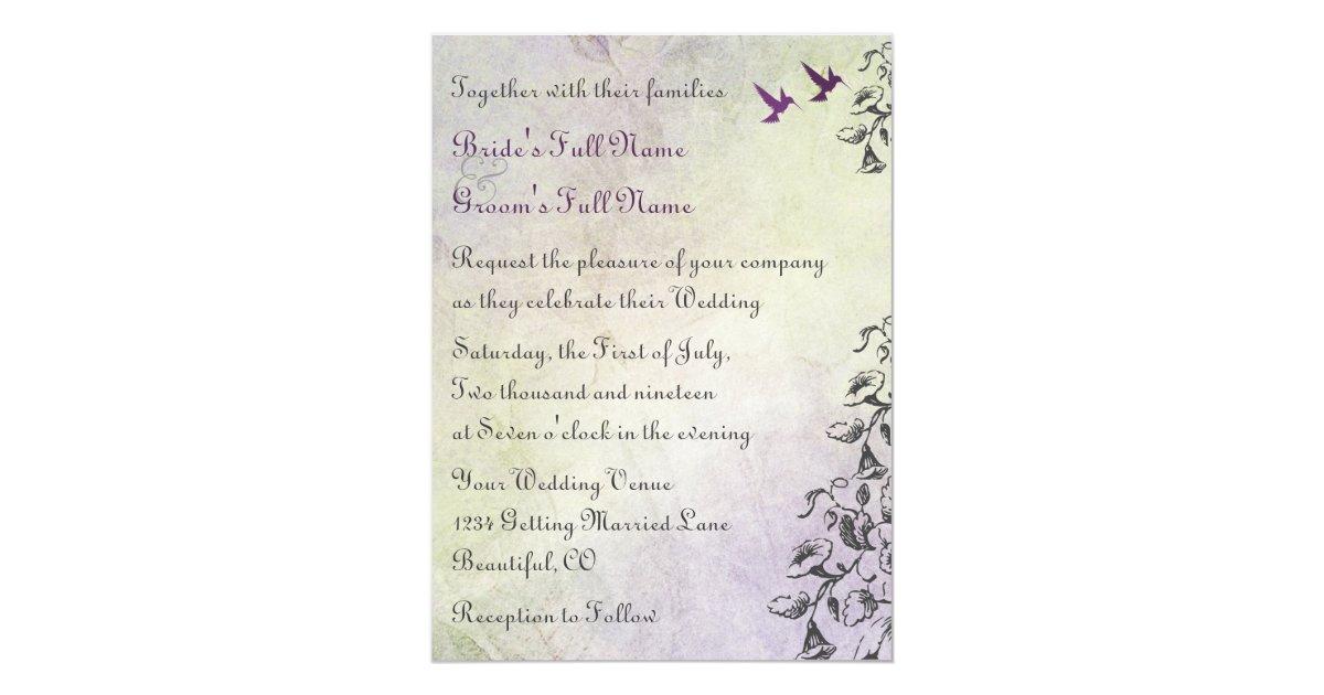 Hummingbird Wedding Invitations: Hummingbirds And Flowers Wedding Invitation