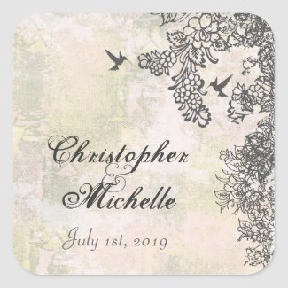 Hummingbirds and Flowers Wedding Stickers