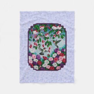Hummingbirds and Flowers with Purple Border Fleece Blanket