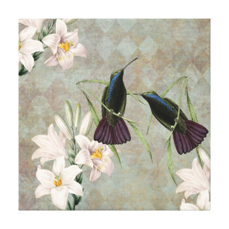 Hummingbirds and Lilies Canvas Print