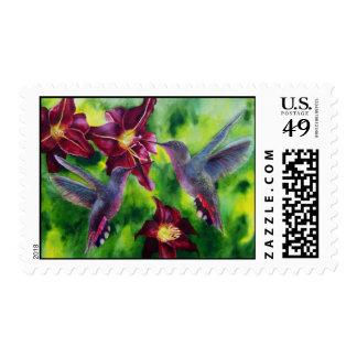Hummingbirds and Lillies Custom Postage