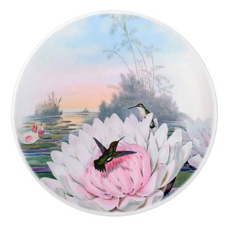 Hummingbirds and Lotus Ceramic Knob