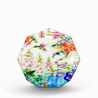 Hummingbirds and Pink Flowers Landscape Acrylic Award