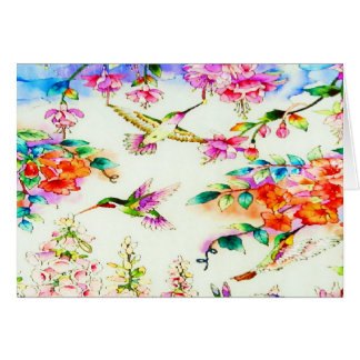 Hummingbirds and Pink Flowers Landscape Card