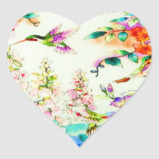 Hummingbirds and Pink Flowers Landscape Heart Sticker