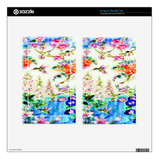 Hummingbirds and Pink Flowers Landscape Kindle Fire Decals