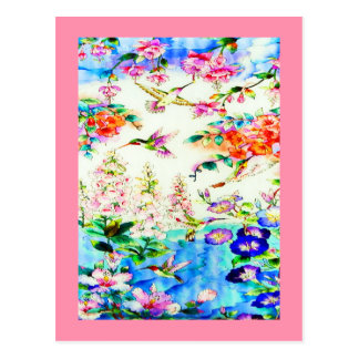 Hummingbirds and Pink Flowers Landscape Postcard