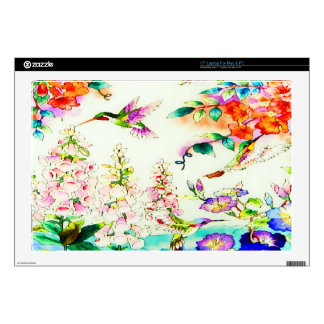 "Hummingbirds and Pink Flowers Landscape Decals For 17"" Laptops"