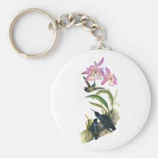 Hummingbirds and Pink Orchids Basic Round Button Keychain