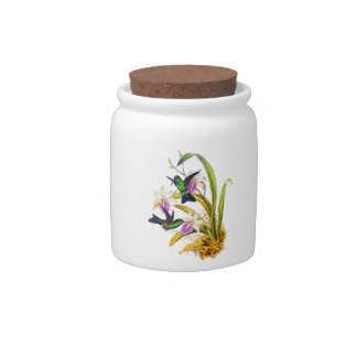 Hummingbirds and Purple Orchids Candy Jars