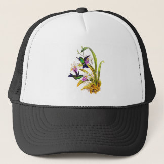 Hummingbirds and Purple Orchids Trucker Hat